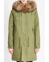 Mr & Mrs Italy - Green Army Cotton Parka With Leather And Raccoon Fur - Lyst