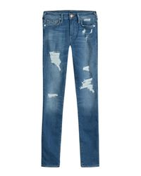 True Religion - Blue Distressed Skinny Jeans - Lyst