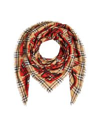 Burberry - Multicolor Graffiti Print Wool-silk Scarf - Lyst