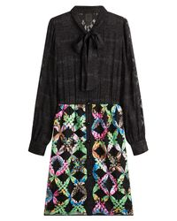 Anna Sui - Black Dress With Silk - Lyst
