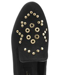 Burberry | Black Embellished Suede Slippers | Lyst