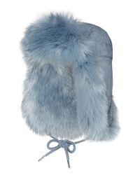 Charlotte Simone - Blue Fashion Helmet Trapper Hat W/ Faux Fur Lining - Lyst