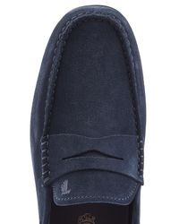 Tod's - Blue Suede Loafers for Men - Lyst