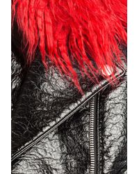 Shrimps - Black Patent Jacket With Faux Fur Collar - Lyst