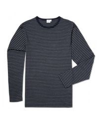 Sunspel | Black Men's Long-staple Cotton Long Sleeve T-shirt With English Charcoal And Navy Stripe for Men | Lyst