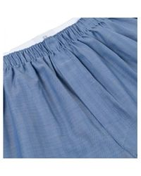 Sunspel - Men's Cotton Boxer Shorts In Large Herringbone Blue for Men - Lyst