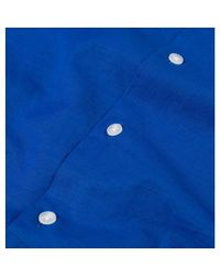Sunspel Men's Cotton Linen Camp Collar Shirt In Klein Blue for men