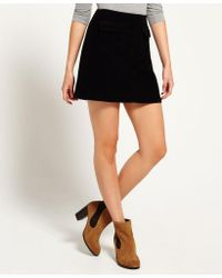 de160508fd Superdry Billie Cord Skirt in Black - Lyst