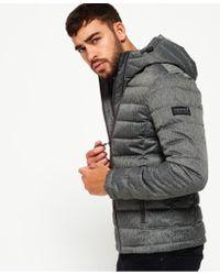 Superdry - Gray Double Zip Tweed Fuji Hooded Jacket for Men - Lyst