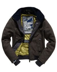 Superdry - Brown Moody Herringbone Bomber - Lyst