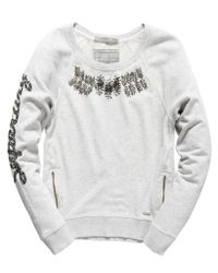 Superdry - Gray Shimmer Luxe Crew - Lyst