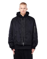 Raf Simons - Black Oversized Bomber With Back Patch for Men - Lyst