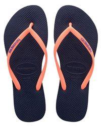 Havaianas | Blue Slim Logo Pop-up Sandal | Lyst