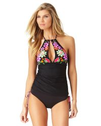 Anne Cole - Black Engineered Floral High Neck Keyhole Tankini Swim Top - Lyst