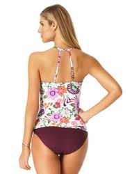 Anne Cole - Brown Live In Color Convertible Shirred High Low Swim Bottom - Lyst