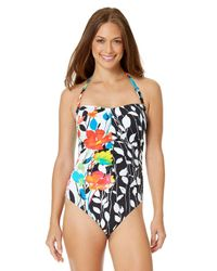 c27c74c6a5 Anne Cole. Women s Blue Growing Floral Engineered Print Center Ruched One  Piece Swimsuit