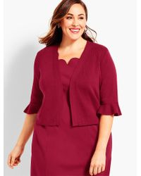 Talbots - Red Womans Exclusive Flutter-sleeve Dress Shrug - Lyst