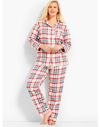 Talbots - Red Plus Size Exclusive Classic Plaid Sleep Set - Lyst