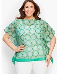 Talbots - Green Plus Size Exclusive Modern Medallion Blocks Poncho - Lyst