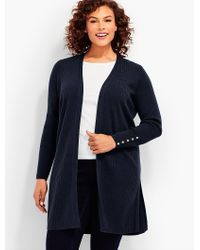 Talbots - Blue Plus Size Exclusive Ribbed Duster Cardigan - Lyst