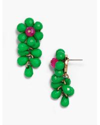 Talbots - Green Statement Beaded Flower Earrings - Lyst