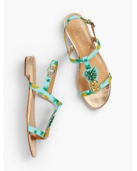 Talbots - Blue Keri T-strap Sandals - Pineapple Faille - Lyst
