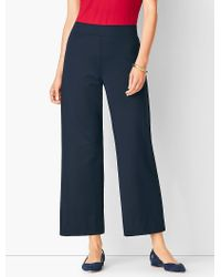 Talbots - Blue Knit Jersey Wide-leg Pant - Lyst