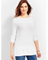 Talbots - White Side-button Bateau Sweater - Lyst