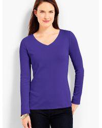 Talbots - Purple Pima Cotton Long-sleeve V-neck Tee-the Tee - Lyst