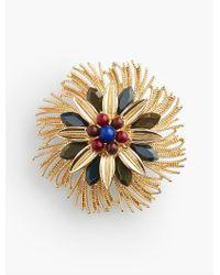 Talbots | Metallic Frayed Flower Pin | Lyst