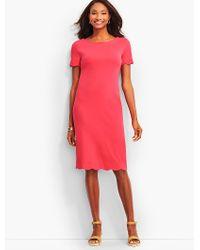 Talbots - Pink Scalloped Cotton Shift Dress - Lyst