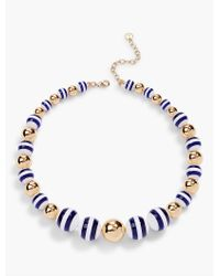 Talbots | Blue Stripe & Gold Bead Necklace | Lyst