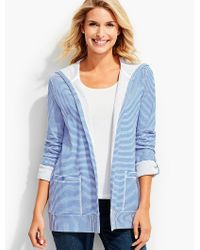Talbots | Blue Cove Stripe Hooded Flyaway Cardigan | Lyst