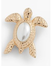 Talbots   White Pearl Cabochon Turtle Pin   Lyst