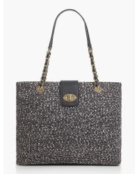 Talbots - Gray Boucle Turnlock Tote - Lyst