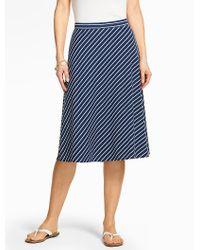 Talbots - Blue Casual Jersey Skirt - Bias-stripe - Lyst