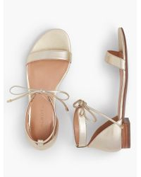 Talbots - Sailor Tie-strap Sandals-metallic Leather - Lyst