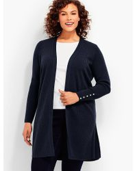 Talbots - Blue Womans Exclusive Ribbed Duster Cardigan - Lyst