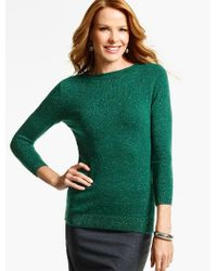 Talbots - Green Cashmere Audrey Sweater-donegal Tweed - Lyst