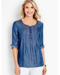 Talbots | Blue Lace-up Pintucked Denim Popover | Lyst
