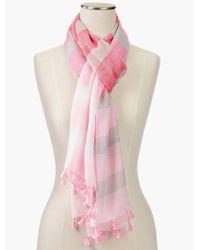 Talbots - Pink Tasseled Ombre Stripe Scarf - Lyst