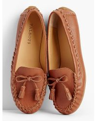 Talbots | Brown Everson Whipstitched Driving Moccasins-pebbled Leather | Lyst