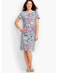 Talbots - Blue Scalloped Cotton Shift Dress-shoreline Paisley - Lyst