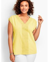 Talbots | Yellow Womans Lace-trimmed V-neck Cap Sleeve Tee | Lyst