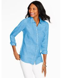 Talbots - Blue Linen Shirt-cross-dyed - Lyst