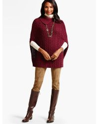 Talbots | Red Cable Poncho | Lyst