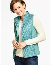 Talbots | Blue Quilted & Ribbed Vest | Lyst