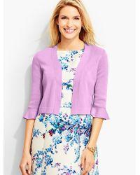 Talbots - Purple Flounced-sleeve Dress Shrug - Lyst