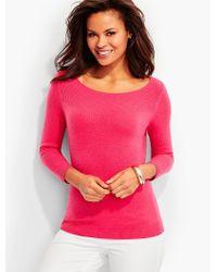 Talbots | Pink Ribbed Yoke Bateau Neck Cashmere Sweater | Lyst