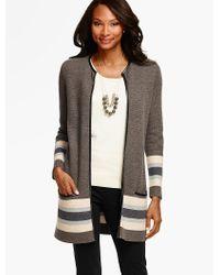 Talbots - Gray Merino-wool Border Striped Sweater Jacket - Lyst